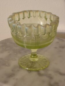 Northwood Spool of Threads Vaseline Opalescent Compote or Jelly Rare!