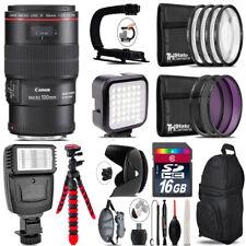Canon EF 100mm 2.8L IS USM Lens - Video Kit + Flash - 16GB Accessory Bundle