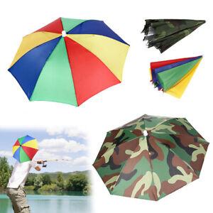 Foldable Sun Umbrella Hat Outdoor Head Strap Golf Fishing Camping Headwear Cap
