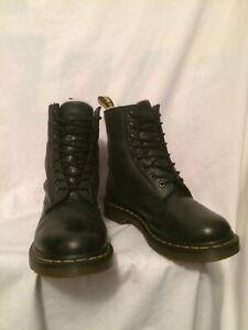 GENUINE DR MARTENS 1460 SERENA 8EYE SHEARLING BLACK LEATHER BOOTS UK6 EU39 US8