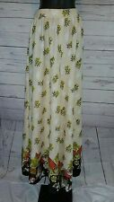 Vtg Handmade Floral Palazzo Maxi Pants Hippie Boho Polyester Knit Gaucho #1689