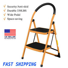 New Durable Non-slip 2 Step Ladder Folding Steel Step Stool 330 Lbs Max Load