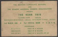 The Kehr Trio 1965 India performance advertisement