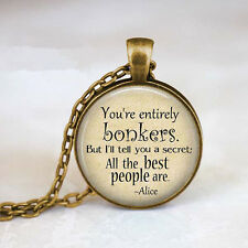 Alice In Wonderland  You're Entirely Bonkers Bronze Chain Pendant Necklace