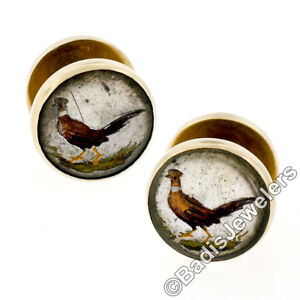 Antique 14k Gold Reverse Intaglio Painted Ring Neck Pheasants Amber Cuff Links