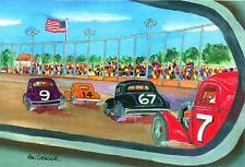 STOCK CAR RACING ART PRINT Short Track Race NASCAR Modified Driver Speed  Pro 9