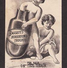 """Bassett's Horehound Troches Rochester NY """"Sold on Train"""" Bottle Advertising Card"""