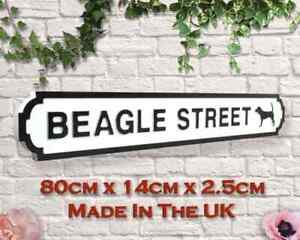 BEAGLE STREET Large Wooden Street Style Sign. Pet Dog Gift. Free P+P & Fixings