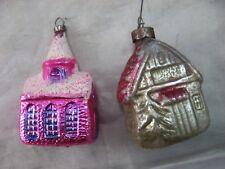 HOUSE CHRISTMAS ORNAMENT 2 VINTAGE ORNAMENTS