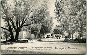 Livingston, Montana Postcard REEDER COURT Motel Highway 89 Roadside / 1952 RPO
