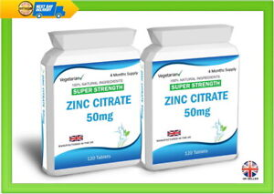 Zinc Citrate 240 Tablets Max Strength 50mg Immune Support UK Manufactured