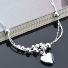 925 Sterling Silver Plated Heart  Anklet  27cm Total with Extension Chain KPAN6