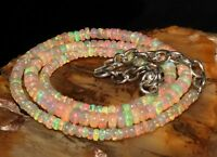 "Natural Ethiopian Welo Fire Opal Necklace 3 to 5 mm 16"" Beads Jewelry gift T1389"