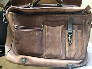 Eddie Bauer Leather Flapover Bag, Has Some Wear, But Not Worn Out!