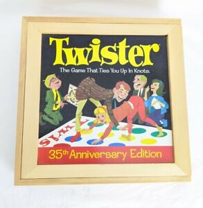 Twister 35th Anniversary Wooden Box Multiplayer Game A stockin feet Game