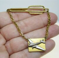 1950's SWANK Airplane Passenger Plane Tie Clip Tie Bar Gold Plated Vintage