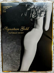 Victoria's Secret Signature Gold Sheer Seduction BLACK Sz A Pantyhose CNTRL TOP
