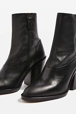 461e2c126fed new TOPSHOP  may  black leather ankle sock boots uk 6 eu 39 ...
