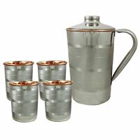 Set-5 Indian Copper Water Silver Polished Hammered Jug 4 Tumbler Good For Health