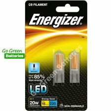 2x Energizer G9 2W=20W LED Filament Bulb 220 Lumens Daylight Halogen Replacement
