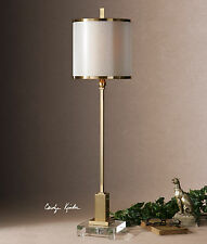 "DESIGNER INSPIRED MODERN 35"" PLATED BRUSHED BRASS TABLE LAMP CRYSTAL FOOT"