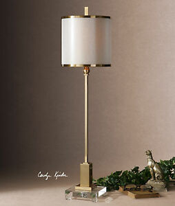 """VILLENA DESIGNER INSPIRED XXL 35"""" PLATED BRUSHED BRASS TABLE LAMP CRYSTAL FOOT"""