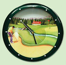 GOLFER WALL CLOCK Course Clubhouse Green Fairway NEW Plastic Wall Mount Battery