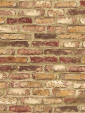 Wallpaper SAMPLE 12 inch Designer Red Orange Cream & Tan Tuscan Faux Brick Wall