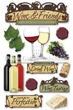 PAPER HOUSE WINE FRIENDS BEVERAGES FOOD PARTY DIMENSIONAL 3D SCRAPBOOK STICKERS