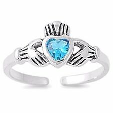 Claddagh Toe Ring Sterling Silver 925 Best Choice Jewelry USA Seller Blue Topaz