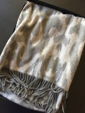 "Magaschoni 100% Cashmere Throw Blanket Damask Grey Multi Fringe 50""x60"" $298"