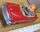 Vintage tin toy friction Red car w/ Driver working condition nice
