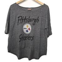 Junkfood T Shirt Football Pittsburgh Steelers Oversized Gray Womens Steel Large
