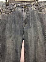 Rider by Lee Size 14 Jeans Capri Denim Mid Rise Medium Wash Cuffed Leg AK04