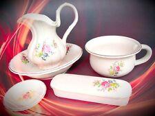 Juego de Lavado 5 Unidades Porcelana Flores Color Vintage Deco Regalo Nostalgia