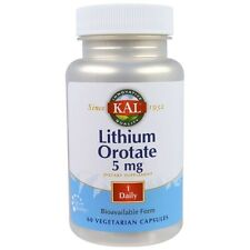 Lithium Orotate, 5 mg, 60 Veggie Capsules, Chelated Bioavailable Form - Kal