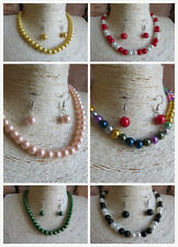 Elegant Glass Pearl Necklace & Earrings Magnetic Clasps Wedding Prom 21 Colours