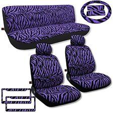 Purple Zebra Seat Covers Auto Car Set Animal Print Fur License Plate Frames CS