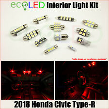 For 2018 Honda Civic Type-R RED LED Interior Light Accessories Replacement Kit