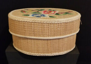Vintage Woven Straw Sewing Basket