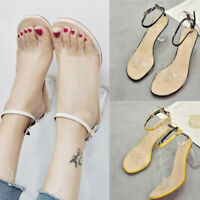 Womens Summer Transparent Sandals Ankle High Heels Block Party Open Toe Shoes