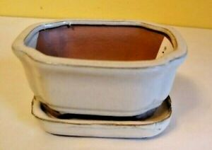 "Lovely Bonsai Pot & Saucer 6"" long NEW, Sand Tan Brown"