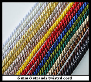 5 mm twisted cord rope 1, 3, 5,10 m for upholstery craft jewellery pipping bags