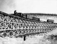 "1916 Tanana Valley RR Train on Bridge, AK Vintage Photograph 8.5"" x 11"" Reprint"