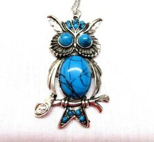 NEW OWL NECKLACE  Large 2 1/2 inch OW Variegated Blue Silver Plated - -