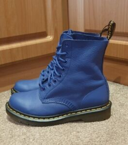 WOW!!! LOOK! Dr Martens 1460 SOFT Pascal Blue Boots Virginia Size UK 4 💙