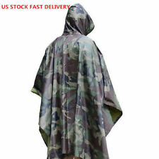 USA Stock Military Woodland Camo Ripstop Wet Weather Rain Poncho Camping Hiking