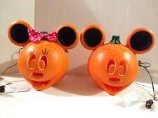Light Up Mickey Minnie Mouse Jack O Lantern Plastic Blow Mold Porch Pumpkin Set