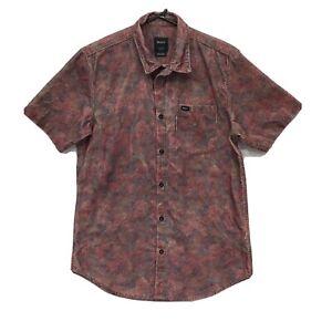 RVCA Shirt Small Mens Slim Fit  Button Down Corduroy Short Sleeve EUC
