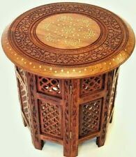 Tea-Coffee carving table sheesham wooden with brass and copper 21 inch